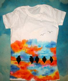 Hand Painted Clothing Like A Bird On A Wire T Shirt Sky Rainbow Colours // Colourful Original Wearable Art /. $52.00, via Etsy.