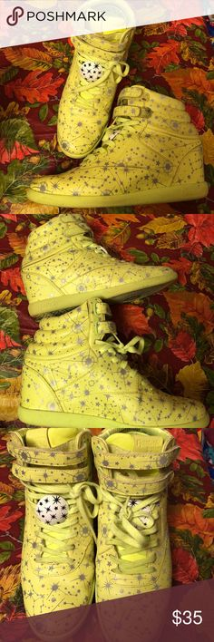 Size 11 Reebok sneaker wedges Unique, out of stock Reebok sneaker wedges. Color is neon yellow. Worn but in great condition. Check all pics. Reebok Shoes Sneakers