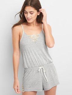 Gap Womens Lace Modal Sleep Romper Light Heather Gray