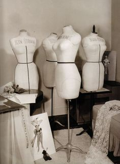 Dress mannequins for Marilyn Monroe and others at Travilla's studio,  1950s.