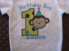 Birthday Boy First Birthday Mod Monkey Onesie or by Bethysboutique