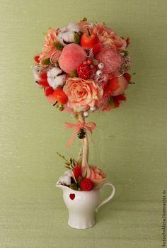 """Купить Топиарий """"Аврора"""" - хлопковые коробочки, Персиковый цвет, персиковый топиарий, красивый подарок"""