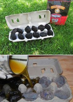 Fill a cardboard egg carton with match light charcoal to make your easy-to-carry fire starter; or you can put the dryer lint in the egg carton and then pour wax on top of dryer lint.