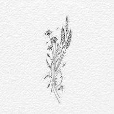 Wild flower ink on drawing paper. #wildflowers #floral #grasshopper #tatts #diytattooimages