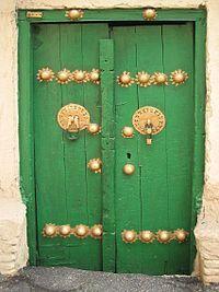 Porte ancienne verte esfahan -