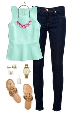 """""""bright & happy"""" by classically-preppy ❤ liked on Polyvore featuring moda, J Brand, J.Crew, Tory Burch, Essie y Kate Spade"""