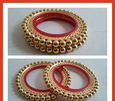 Silk Thread Bangles Design, Silk Bangles, Thread Jewellery, Gold Jewellery Design, Jewellery Earrings, Bangles Making, Jewelry Making, Rajputi Jewellery, Fabric Earrings