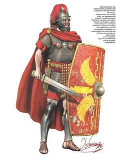 Roman centurion of the eastern legions in the old type of armor (the period Augusta Tiberius ) , 60-70 AD