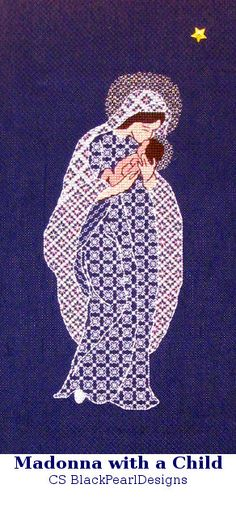 Blackwork kit Madonna with a  Child  from the by RussianBlackwork, $30.00