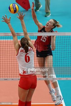 #RIO2016 Kimberly Hill of the United States in action during the women's qualifying volleyball match between the United States and Serbia on Day 5 of the Rio...