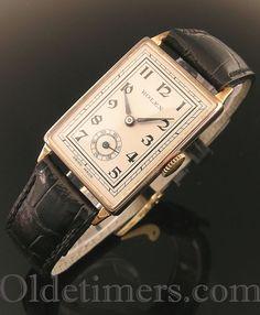 A 9ct gold rectangular vintage Rolex watch, 1937