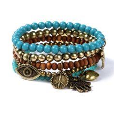 Earthy Beaded Charm Bracelets Set of 5