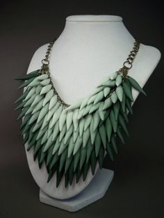 Custom Made Ombre Emerald Green Polymer Clay Spike Statement Necklace