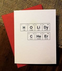"Christmas Card Chemistry Periodic Table of the Elements ""HoLiDy CHeEr"" Holiday Cheer on Etsy, $4.00"