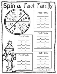 Here& a freebie from my Snowy Fact Families Packet. I hope you enjoy and will leave feedback! Be sure to check out the complete Snowy Fact Families Packet! Math Worksheets, Math Resources, Math Activities, Addition Activities, Fact Family Worksheet, Second Grade Math, Grade 1, Fourth Grade, Math School