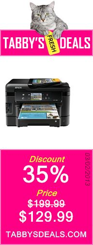 Epson WorkForce WF-3540 Wireless All-in-One Color Inkjet Printer, Copier, Scanner, 2-Sided Duplex, ADF, Fax. Prints from Tablet/Smartphone. AirPrint Compatible (C11CC31201) $129.99