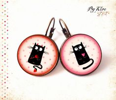 Bague Cabochon • Le Chat noir • ange pois rose coeur verre