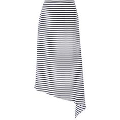 Tibi Identity Stripe asymmetric silk midi skirt ($495) ❤ liked on Polyvore featuring skirts, navy, mid-calf skirt, tibi skirt, white knee length skirt, striped skirt and white silk skirt