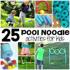 Pool noodles are cool to play with and now you have 25 more ways to play! We are totally loving these super silly pool noodle activities for kids. Who even knew you could do so much with pool noodles? Pool Noodle Games, Pool Noodle Crafts, Pool Noodles, Dinosaur Activities, Toddler Activities, Fun Activities, Montessori Activities, Summer Activities For Kids, Summer Kids