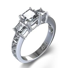 Three-Stone Princess Engagement Ring with Princess Sidestones in 14k White Gold - $1,610