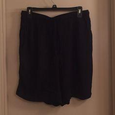 Womens Solid Black Pleated Shorts Sag Harbor M Elastic Drawstring Waist Rayon  #SagHarbor #CasualShorts