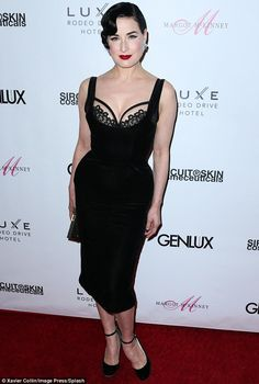 Style: As she often does, Dita arrived with a throwback look that included carefully-styled hair and dramatic makeup