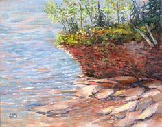 8x10 Original Plein Air Oil Painting  Cliff by CanvasReflections