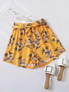 ((Affiliate Link)) Description Style:	Boho Color:	Yellow Pattern Type:	Floral, All Over Print Details:	Belted Type:	Wide Leg Season:	Summer Composition:	97% Polyester, 3% Spandex Material:	Polyester Fabric:	Non-stretch Sheer:	No Fit Type:	Loose Waist Type:	High Waist Closure Type:	Elastic Waist Belt:	Yes