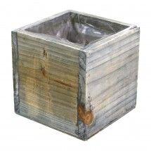 "4"" x 4"" Square Cube Wood Vase - Rustic Gray"