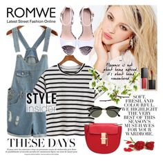 """""""Striped T-shirt and overalls"""" by anja-jovanovich ❤ liked on Polyvore featuring Silvana, Folio, Ray-Ban, Smashbox, trending, romwe, overalls, contestentry and spring2016"""
