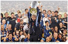 Jose Mourinho lifts the European Cup as Inter Milan win the 2010 Champions League to complete an unprecedented treble.