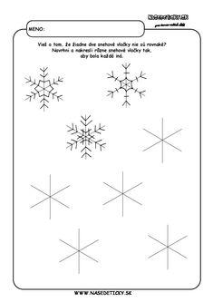Snehové vločky - pracovný list Zentangle Drawings, Martini, Snowflakes, Teaching, Education, Cool Stuff, Winter Time, Preschool, Winter
