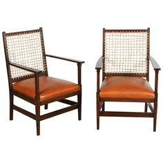 Pair of Craftsman Rope and Leather Chairs | From a unique collection of antique and modern side chairs at https://www.1stdibs.com/furniture/seating/side-chairs/