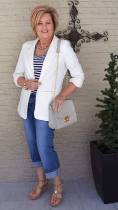 50 Is Not Old | White Boyfriend Blazer | Stripes | Cropped pants | Spring | Fashion over 40 for the everyday woman