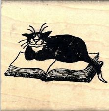 Edward Gorey Wood Mounted Rubber Stamp Bookmark Cat on Book by Kidstamps