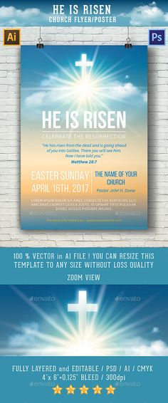 he is risen template for church flyer poster
