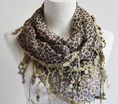 ESE  Leopard Shawl Scarf Triangle Scarves Headband by ESEHandMade, $19.00