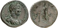 AE Sestertius. Roman Coin, Roman Empire, Hadrianus 117-138 AD. 122 AD. 26,17g. RIC 420, 611b. Almost EF. Price realized 2011: 4.000 USD. Antique Coins, Rare Coins, Coin Collecting, Antiquities, Artemis, Roman Empire, Seals, Civilization, Rome