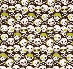 Green glitter skulls