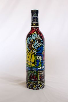 This bottle is beautifully hand-painted with designs and images inspired by the stained-glass in Disney movie Beauty & the Beast. If you are a
