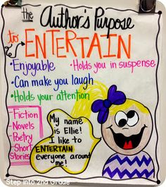 Step into 2nd Grade with Mrs. Lemons: Author's Purpose entertain chart