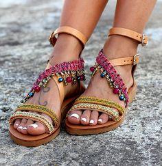 Handmade leather sandals Greek leather sandals Boho sandals