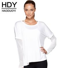 HDY Haoduoyi Fashion Fake Two-Piece Basic Tops Women Long Sleeve Female Pullover Tops Brief Style Solid White Casual T-shirt