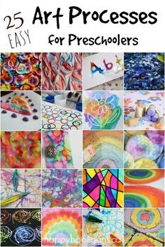Preschool Crafts for Kids  25 Easy Art Techniques for Toddlers and Preschoolers: super-creative, really cool ways to create art. These would actually be a hit with all ages, but they ARE easy enough for little ones to handle. I actually love doing many of them myself. - Happy Hooligans