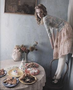Sophie Buxton for Vogue Korea march 2006 by Louis Park. Lace pink skirt