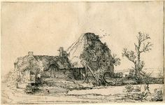 Eye Candy for Today: Rembrandt etching of farm scene with man sketching. Lines and Colors post: http://linesandcolors.com/2017/02/28/eye-candy-for-today-rembrandt-etching-of-farm-scene-with-a-man-sketching/