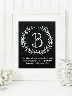 "Instant ""Family Monogram Scripture"" Chalkboard Wall Art Print 11x14, 5x7 Typography Letter ""B"" Printable Home Decor"