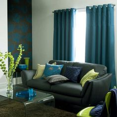 teal curtains gray couch....maybe for the apt
