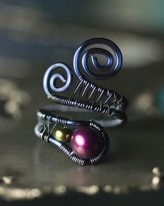 Adjustable Wirework Ring - 'AA' Mulberry Purple Freshwater Pearl and Peacock Olive Pearl in Dark Blue Copper by Moss & Mist Jewelry | Flickr - Photo Sharing!