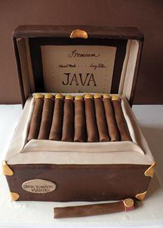 Cigar box grooms cake